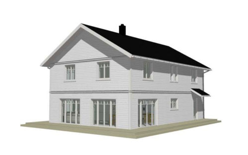Dagö fasadritning, liggande panel